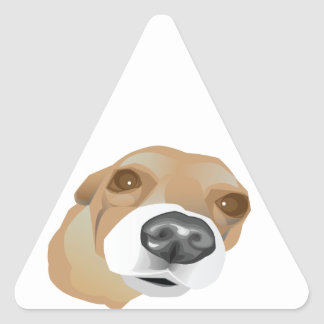 Illustrated vector portrait of a little dog triangle sticker