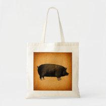 Illustrated Vintage Pig Rustic Art Tote Bag