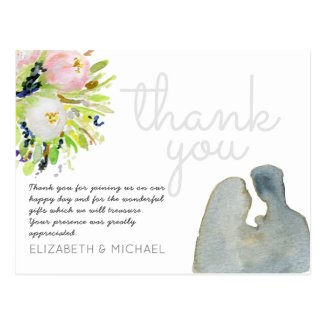 Illustrated Watercolor Floral Thank You Wedding Postcard