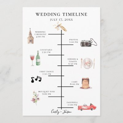 Illustrated Watercolor Wedding Timeline Program