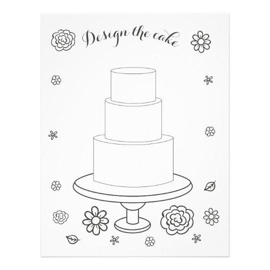 Illustrated Wedding Activity Cake Coloring Page | Zazzle.com