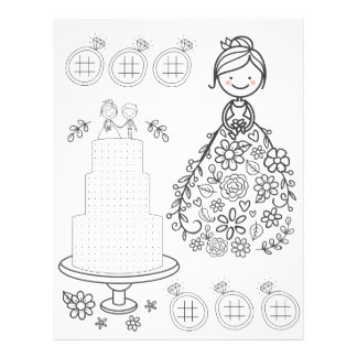 Illustrated wedding activity coloring page