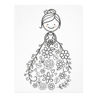 Illustrated Wedding Bride Coloring Page