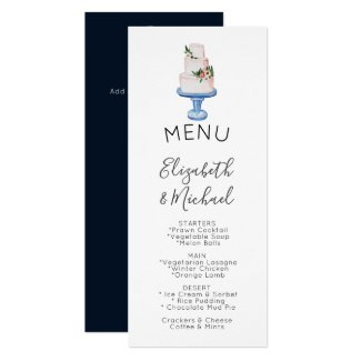 Illustrated Wedding Cake MENU Double sided Invitation