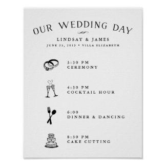 Illustrated Wedding Day Schedule Poster