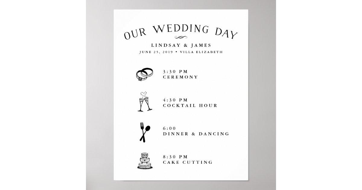 Illustrated wedding day schedule poster zazzle junglespirit Choice Image