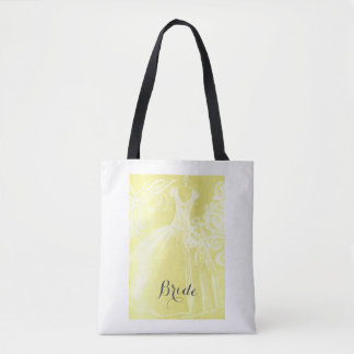 Illustrated Wedding Dress Tote Bag for the Bride