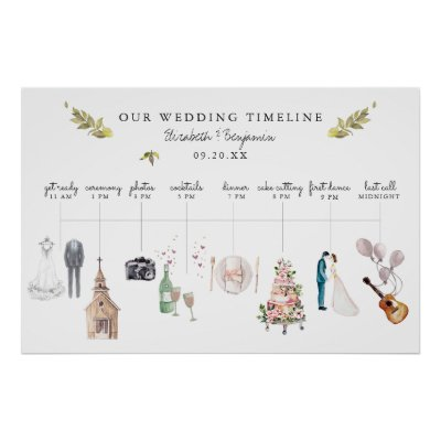 Illustrated Wedding Itinerary Timeline Welcome Poster