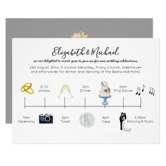 Illustrated Wedding Timeline Invitation Icons Fun