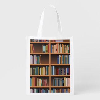 Illustrated Wide Bookshelf Reusable Grocery Bag