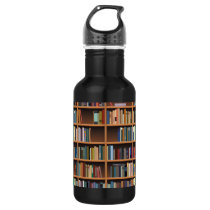 Illustrated Wide Bookshelf Stainless Steel Water Bottle