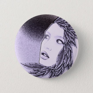 Illustrated Woman Pinback Button