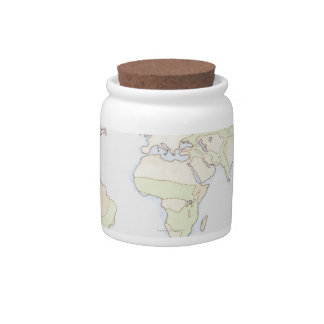 Illustrated World Map 2 Candy Dishes