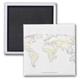 Illustrated World Map 2 Fridge Magnet