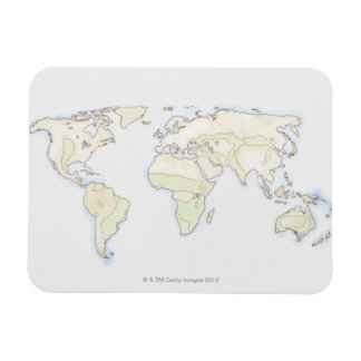 Illustrated World Map 2 Rectangular Magnets
