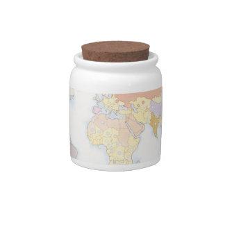 Illustrated World Map 3 Candy Jar