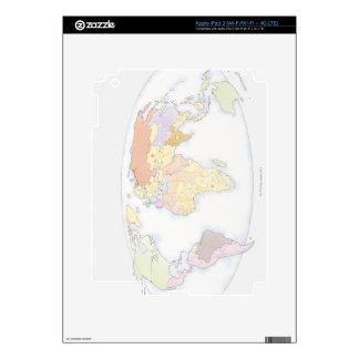 Illustrated World Map 3 iPad 3 Decals