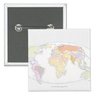 Illustrated World Map 3 Pinback Button