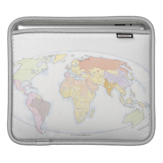 Illustrated World Map 3 Sleeve For iPads
