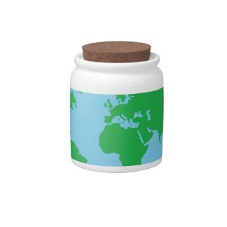 Illustrated World Map Candy Dish