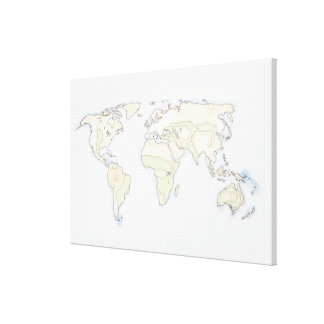 Illustrated World Map Stretched Canvas Prints