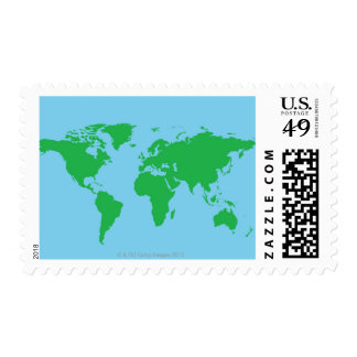 Illustrated World Map Postage