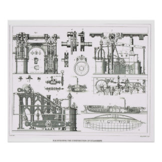 Illustrating the construction of steamships poster