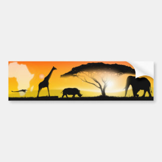 Illustration african landscape bumper sticker