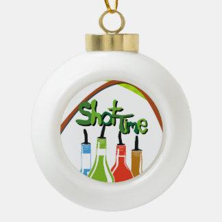 Illustration Alcohol bottles at a bar Ceramic Ball Christmas Ornament