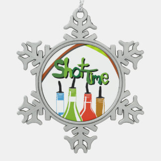 Illustration Alcohol bottles at a bar Snowflake Pewter Christmas Ornament