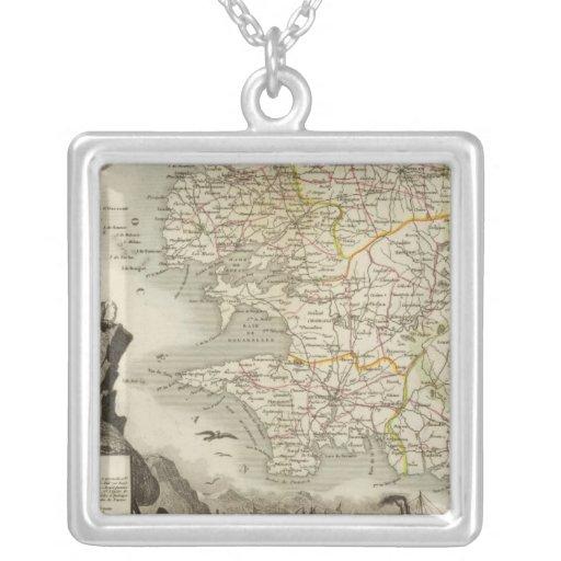 Illustration Atlas Maps Square Pendant Necklace