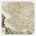 Illustration Atlas Maps Square Sticker