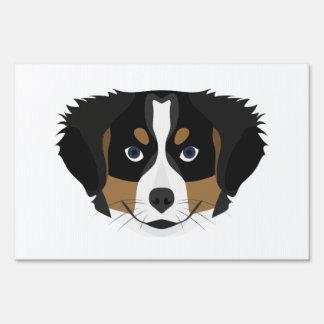 Illustration Bernese Mountain Dog Lawn Sign