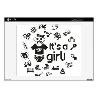 "Illustration black IT'S A GIRL! 14"" Laptop Decals"
