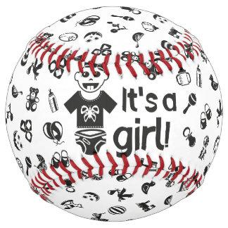 Illustration black IT'S A GIRL! Softball