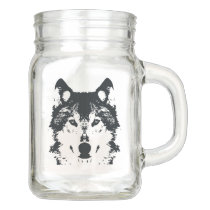 Illustration Black Wolf Mason Jar