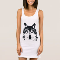 Illustration Black Wolf Sleeveless Dress