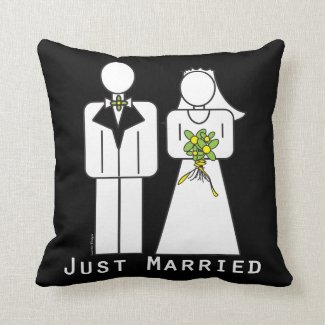 Illustration Bride Groom Just Married Throw Pillow