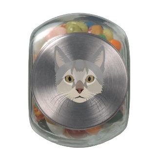 Illustration Cat Face Jelly Belly Candy Jars