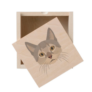Illustration Cat Face Wooden Keepsake Box