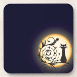 Illustration cat on branch and basic moon coasters