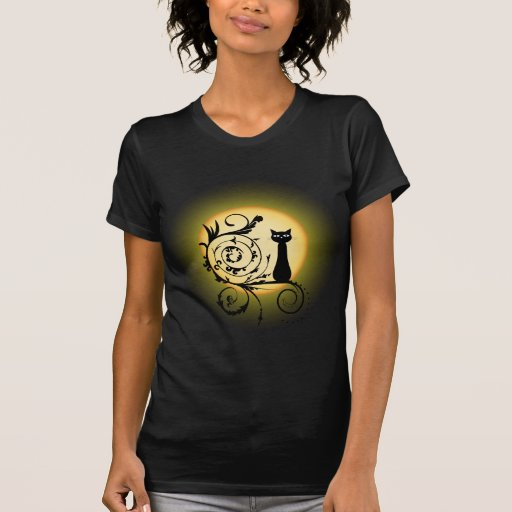 Illustration cat on branch and basic moon t-shirt