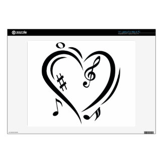 "Illustration Clef Love Music 14"" Laptop Skin"