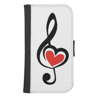 Illustration Clef Love Music Galaxy S4 Wallet Case