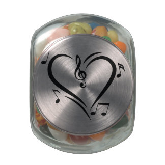 Illustration Clef Love Music Glass Jars
