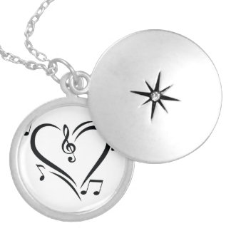 Illustration Clef Love Music Locket Necklace