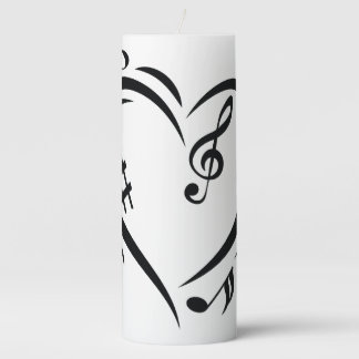 Illustration Clef Love Music Pillar Candle