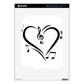 Illustration Clef Love Music Skin For iPad 3