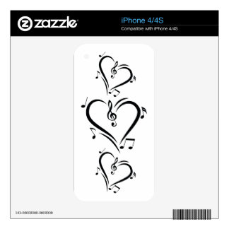 Illustration Clef Love Music Skin For iPhone 4