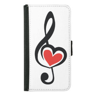 Illustration Clef Love Music Wallet Phone Case For Samsung Galaxy S5